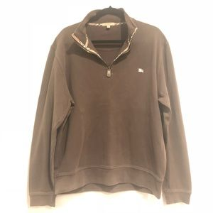 Burberry Mens 1/4 Zip Pullover Brown Knit XL